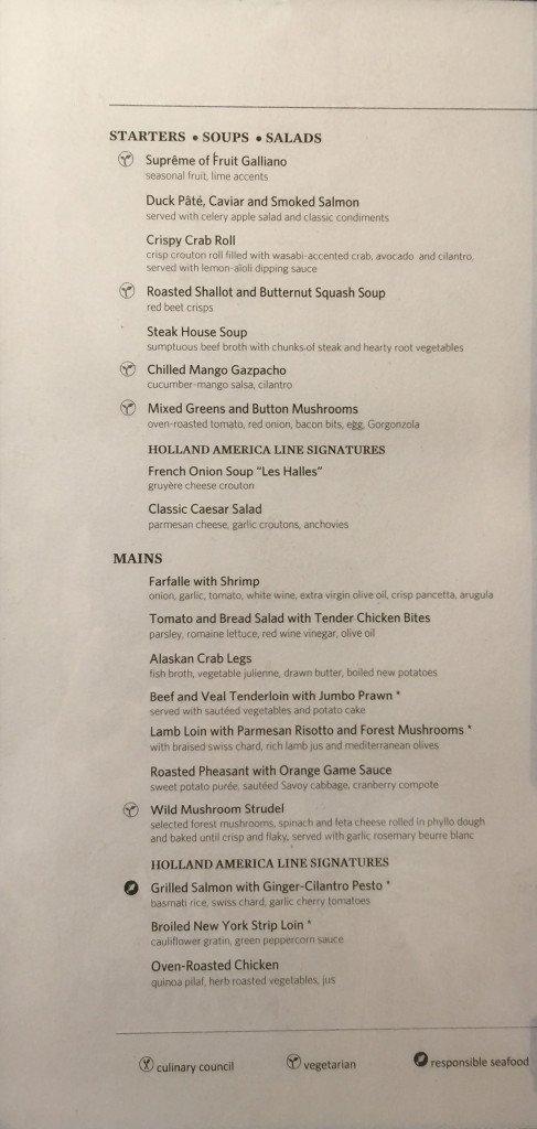 MS Amsterdam Gala Night Dinner Menu - Starter Soup Salad Main