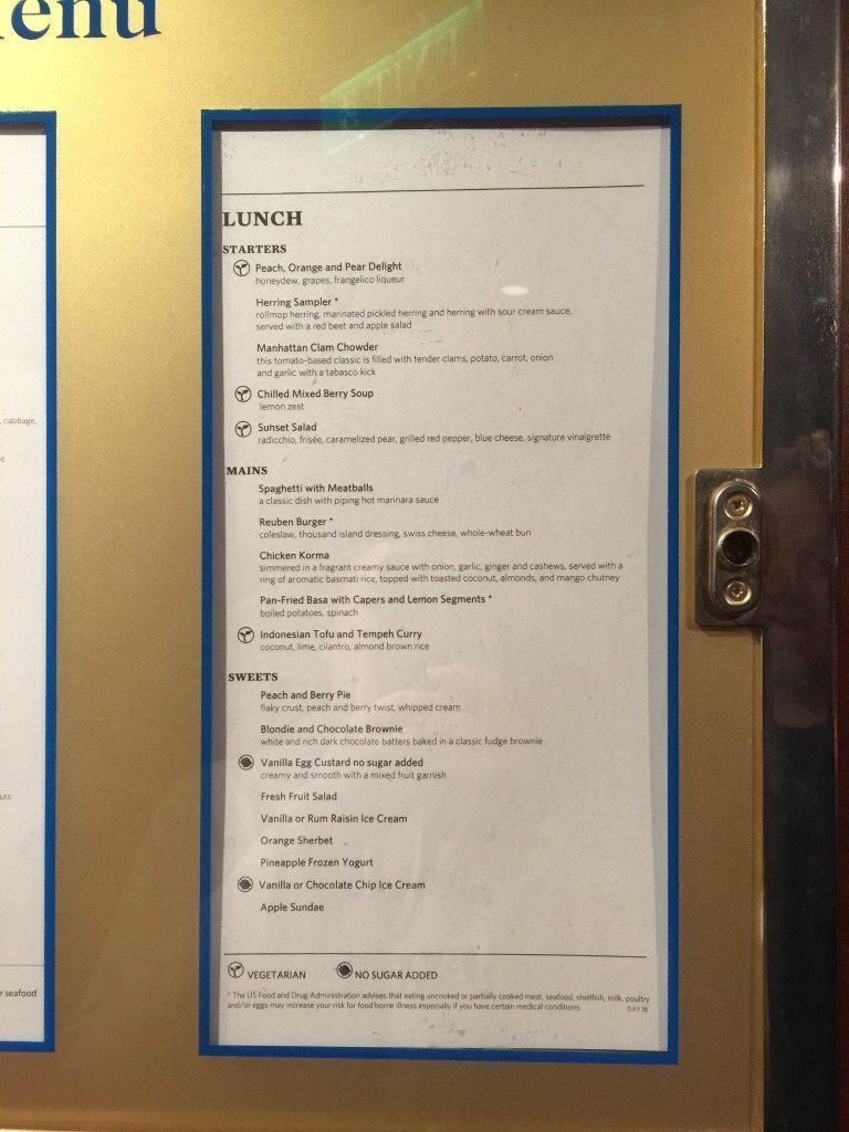 MS Amsterdam Main Dining Room Lunch Menu