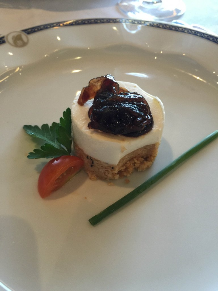 MS Amsterdam Goat Cheesecake with Red Onion Jam