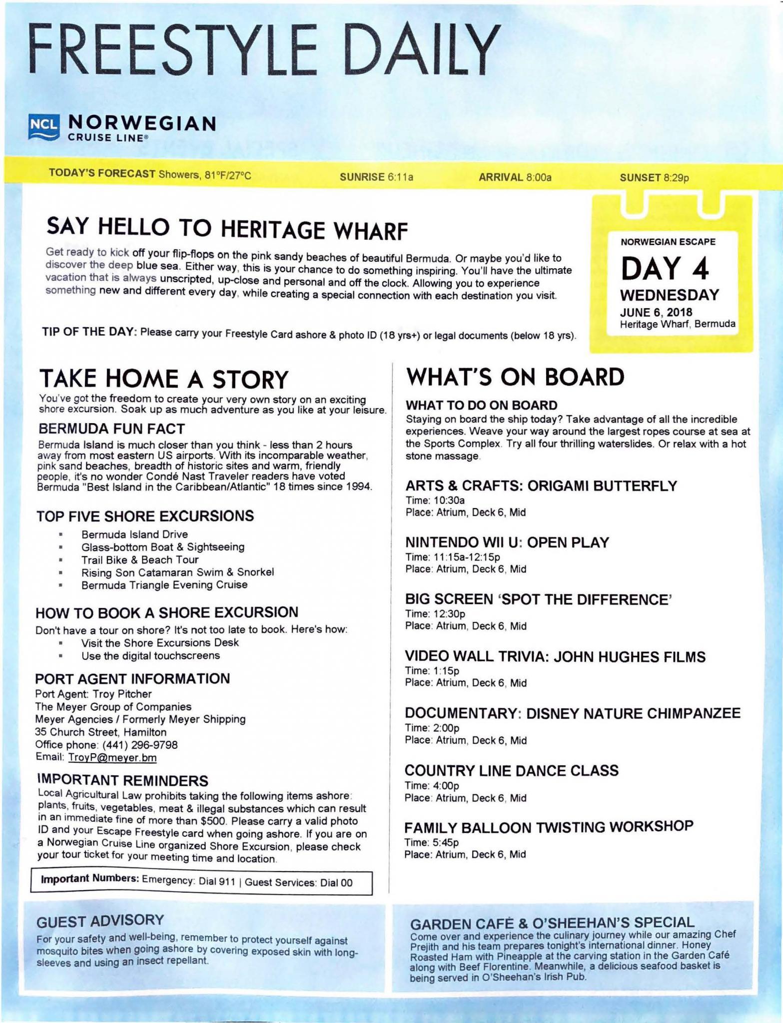 Norwegian Escape – NYC Bermuda – Day 4_Page_1