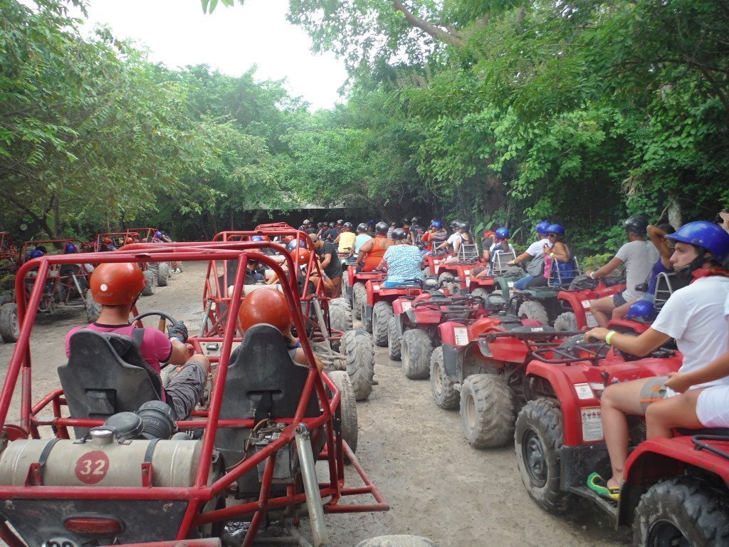 Xrails and quads lined up to head out for a day trip to the cenote.