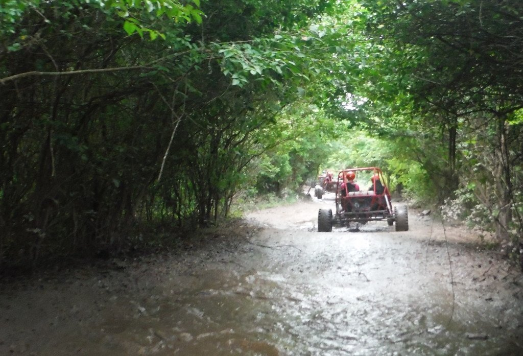 Xrail driving thru the muddy jungle trail.