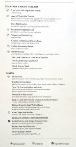 MS Amsterdam Embarkation Day Dinner Menu - Click to Expand
