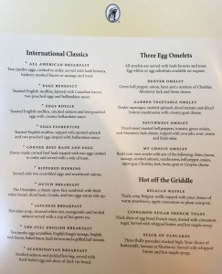 MS Amsterdam Breakfast Menu