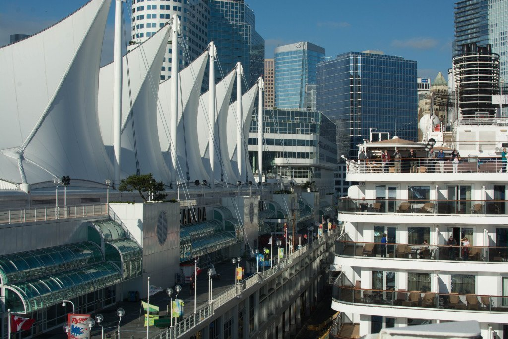 Canada Place and the Aft-end of the holland america MS Noordam