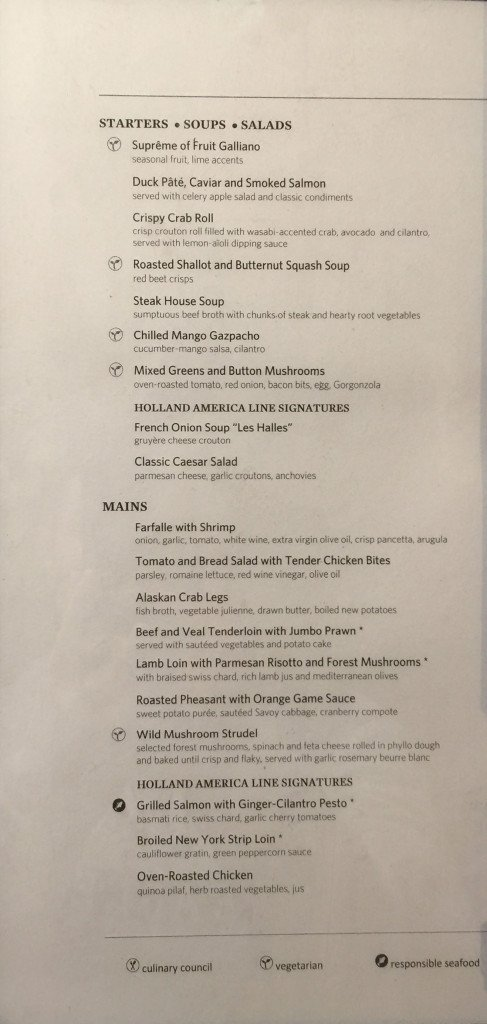 MS Amsterdam Gala Night Dinner Menu - Starter Soup Salad Main