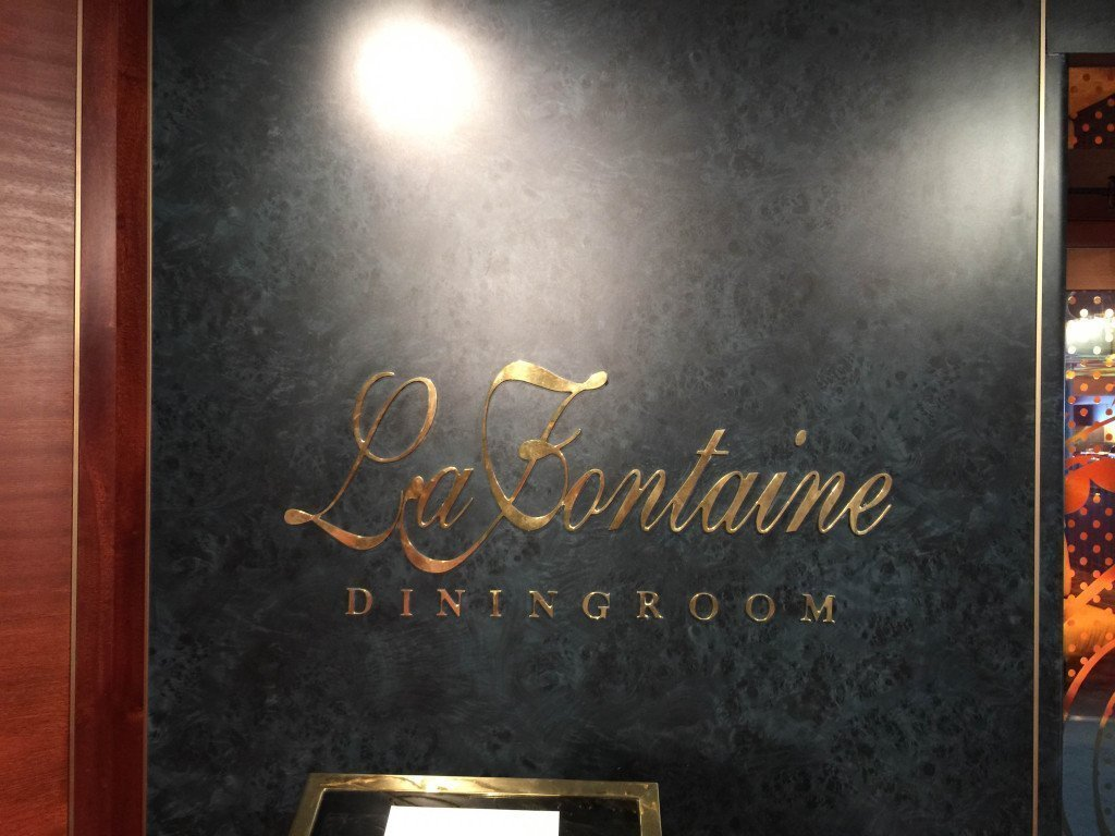 La Fontaine Sign, Main Dining Room on MS Amsterdam