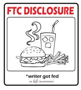 FTC Disclosure - Writer got fed