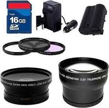 Batteries, lens filters, extra memory card